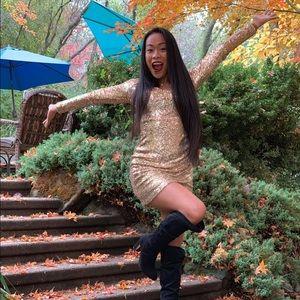 Gold Sequin Long Sleeve Bodycon Dress